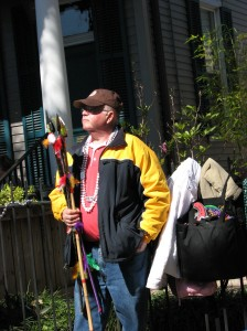 Dad at Mardi Gras, raking it in as always.
